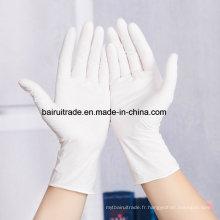 Gants en caoutchouc jetables blancs de caoutchouc de nitrile blancs Gants résistants à l'huile blancs médicaux