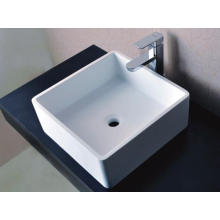 Sanitary Ware Square Counter Top Lavabo en pierre blanche (BS-8316)