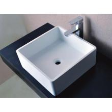 Sanitary Ware Square Counter Top White Stone Wash Basin (BS-8316)