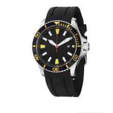 Regatta Quartz Date Yellow Accent Rubber Strap Diver Watch