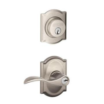 Satin Nickel Camelot Trim Decorative Security Set Lever