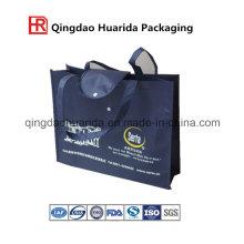 Bolsa no tejida de tela reciclada para compras en el supermercado con cuerda de mano