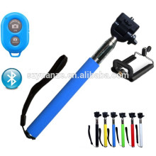 2015 hot self self stick with bluetooth shutter button, Wired Selfie Stick Handheld Monopod Built-in Shutter extensible avec Fo