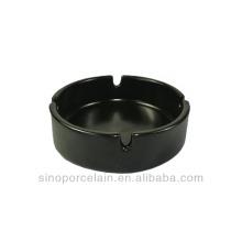 Schwarzer Matt-glasierter runder Keramik-Aschenbecher für BS140122E