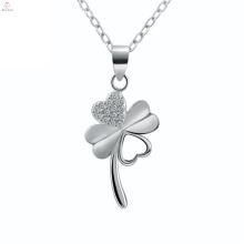 Ожерелье Стерлингового Серебра 925 Четыре Листа Клевера Цветок Кулон
