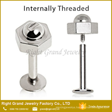 316L Surgical Steel Internally Threaded Lip Labret with Bolt and Nut Top