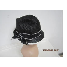 Black Fashion Casual Women Paper Straw Hats With Ribbon Band For Normal Day, Party