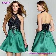 Neue Ankunfts-reizvolle Partei-Abend-Kleider A-Linie Appliques, die Kleid-V-Ansatz Kleid mit Reißverschluss frei bördeln