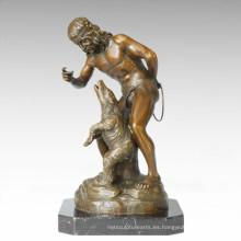 Soldados figura estatua entrenador de animales escultura de bronce TPE-099