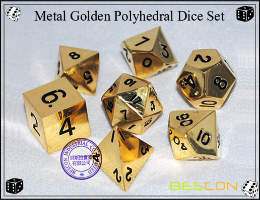 Metal Golden Polyhedral Dice Set