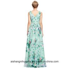 V Neck Full Length Wedding Party Dress