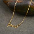 Frauen Geschenk Lucky Letter Wort Frieden Choker Halskette