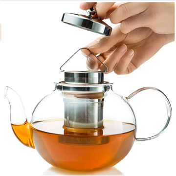 custom borosilicate glass large luxury heat resistant tea set teapot