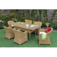 High Quality Poly Rattan Outdoor 6 Cadeiras Set de jantar