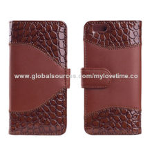 Brown Leather Cases for iPhone 6 with Card Slots, Splicing Design