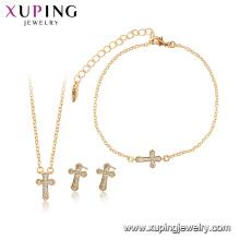 65012 xuping 18 k banhado a ouro moda cruz conjuntos de jóias de 3 peças para as mulheres