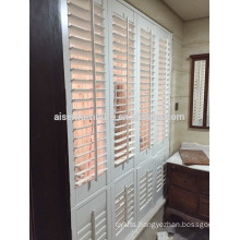 Modern white color shutter adjustable louvre shutter wood plantation shutter louver door