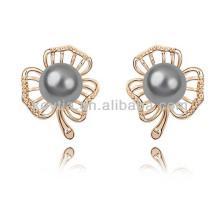 Handgemachte Perle Ohrringe Fotos dunkelgrau Perle Ohrringe mit Diamanten Gold Ohrstecker