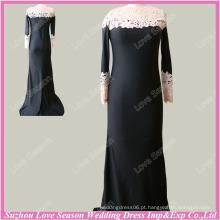 RP0063 Venda quente de roupas para mulheres muçulmanas de manga comprida casaco musculoso vestido de noite preto sereia longos estilos muçulmanos de vestidos