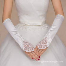 Women bridal wedding satin elbow high quality wedding lace gloves
