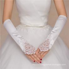 Женщины свадебные атласная локоть высокое качество свадебные кружева перчатки