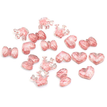 Hot Sale Resin Flat Back Glittery Cabochons Kawaii Heart Bowknot Crown Shape Glitter Slime Charms Cabs For Craft Jewelry Making