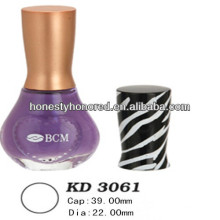 Cosmetic Stripe Nail Polish Bottle Plastic Crown Caps Packaging