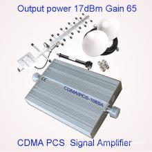 850 / 1900MHz Repetidor de señal de alta cobertura de 2g / 3G 65dBi CDMA / PCS de banda dual móvil de señal de aumento interno