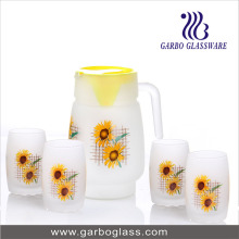 7PCS Printing Frosted Water Drinking Glasss Set (GB12017-1-MSYH)