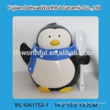 Promotional penguin figurine ceramic condiment set with spoon