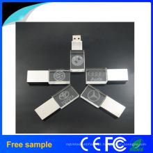 Personalizado logotipo de impressão de cristal de metal / Wood Flash Drive USB com luz LED