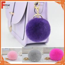 Wholesale Rex Rabbit Fur Pompom Keychain Real Rabbit fur Keychain