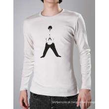Top Quality Black Design Impressão de Algodão Branco Moda Masculina T-Shirt
