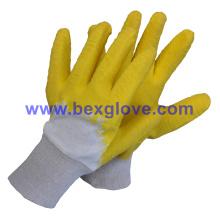 Cotton Interlock Liner, Latex Coating, Ripple Styled Crinkle Finish Handschuh