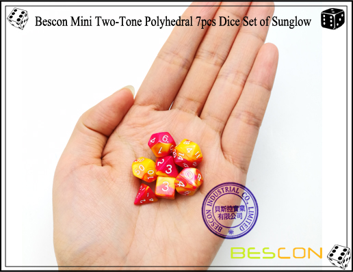 Bescon Mini Two-Tone Polyhedral 7pcs Dice Set of Sunglow-6