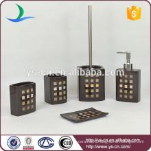 Elegant Black Ceramic Bathroom Accessories with Golden square Design