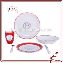 Conjunto de louça de porcelana redonda de placa para casa