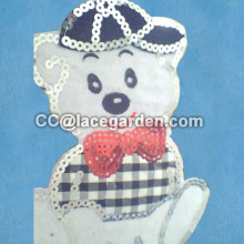 Lovely Bear Design Sequin Embroidery Patches