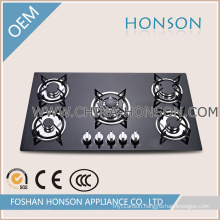 Hot New 5 Burner Glass Top Built-in Gas Hob with Wok Burner