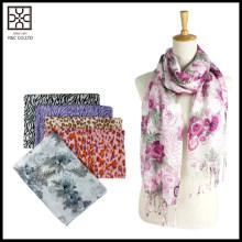 2016 bufanda de acrílico clásica de la venta al por mayor de la manera de la señora de la impresión floral de S / S
