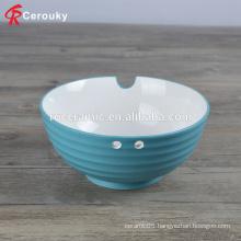 personalized white inside blue outside glaze stripe ceramic soup bowl with chopsticks holder