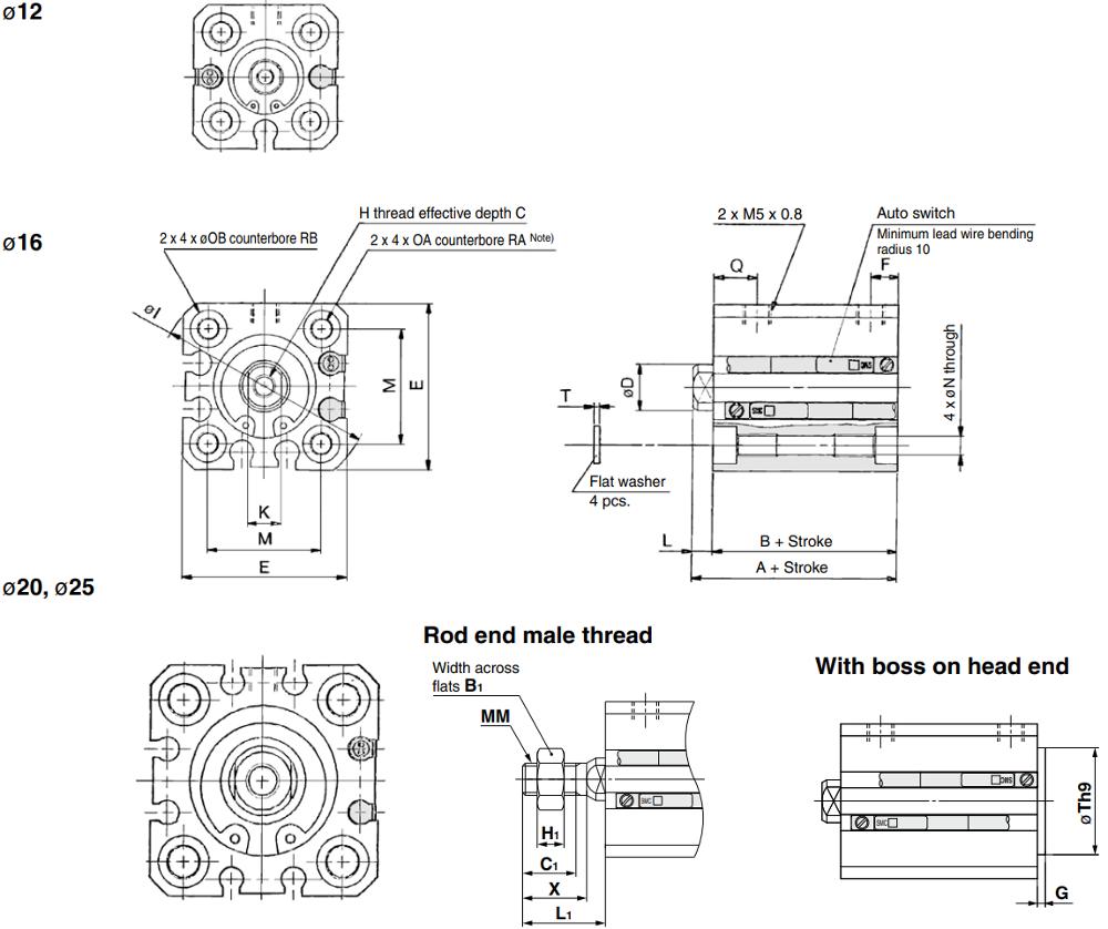 CQSB cylinder dimension