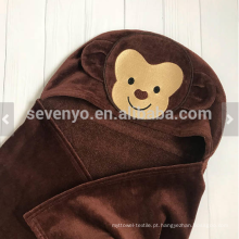 Toalha de bebê com capuz rosto animal macaco personalizado presente grande tamanho