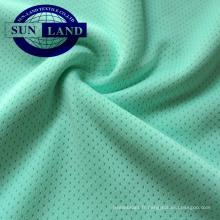 tricot de trame 100 tissu en maille sinle de trou d'oeillet en polyester pour les vêtements de sport