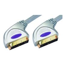 Premium Silver Zinc Metal Plug Scart Cable (WD13-009)