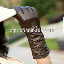Mulheres inverno longo luvas de couro marrom para o inverno