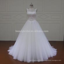 SL437 dernière conception musulmane avec ceinture en dentelle en tissu robe de mariée 2017