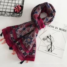Printemps été femme écharpe de voyage impression motif géométrique longue écharpe coton et lin matériel hijab écharpes 2018