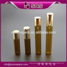 SRS cosmetic glass roll on bottle , cosmetic empty 15 ml glass bottle amber with roller ball