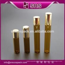 SRS cosméticos vidro rolo sobre garrafa, cosméticos vazio 15 ml garrafa de vidro âmbar com rolo bola